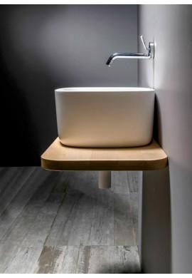 EVER BOUNCE lavabo in CRISTALPLANT con mensola faggio