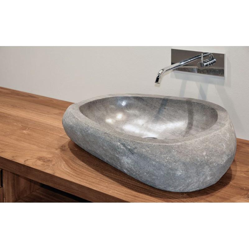 Idi studio river stone lavabo irregolare in pietra naturale 45x40x15 compra idi studio lavabo - Lavabo bagno in pietra ...